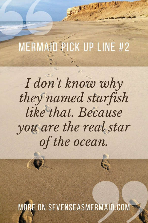 mermaid pick up line on a beach background
